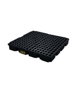 4 Drum, 60.5 Gallon Sump Capacity, Modular Spill Containment Platform without Drain, Black - 1635B