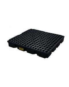 4 Drum, 60.5 Gallon Sump Capacity, Modular Spill Containment Platform with Drain, Black - 1635BD