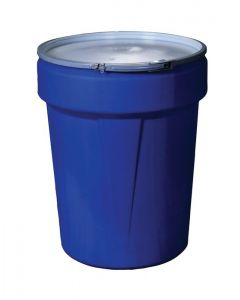 40 Gallon, Metal Lever-Lock, Lab Pack Plastic Barrel Drum, Blue - 1651MB
