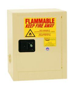 Bench Top Flammable Liquid Safety Cabinet, 4 Gallon, 1 Shelf, 1 Door, Self Close, Beige