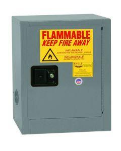 Bench Top Flammable Liquid Safety Cabinet, 4 Gallon, 1 Shelf, 1 Door, Self Close, Gray