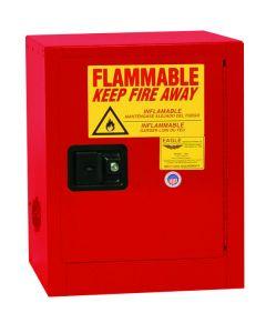 Bench Top Flammable Liquid Safety Cabinet, 4 Gallon, 1 Shelf, 1 Door, Self Close, Red