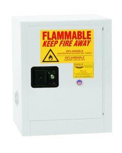 Bench Top Flammable Liquid Safety Cabinet, 4 Gallon, 1 Shelf, 1 Door, Self Close, White