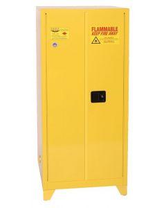 60 Gallon,  2 Shelf,  2 Door,  Self Close,  Flammable Liquid Cabinet, Tower™,  Yellow  - 6010XLEGS